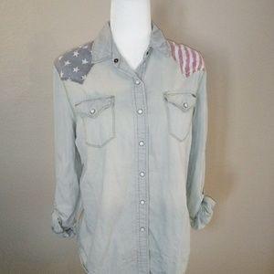Pacsun Bullhead Sz Lg Patriotic Flag Denin Shirt